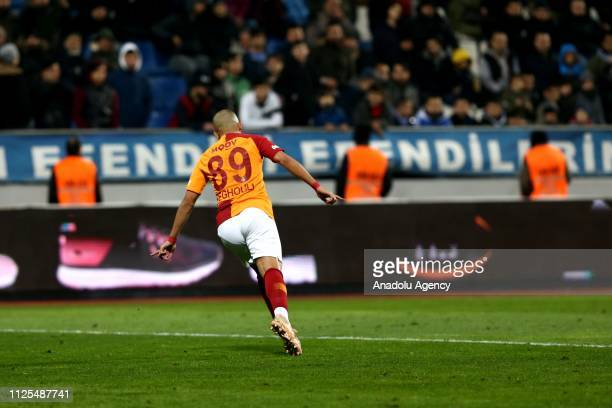 Sofiane Feghouli of Galatasaray celebrates after scoring a goal during the Turkish Super Lig soccer match between Kasimpasa and Galatasaray at Recep...