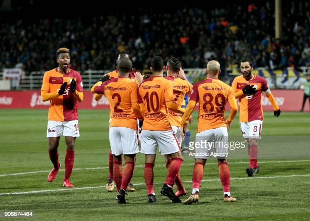 Sofiane Feghouli of Galatasaray celebrates his goal with his teammates Mariano Filho Younis Belhanda Selcuk Inan and Ryan Donk during Turkish Ziraat...
