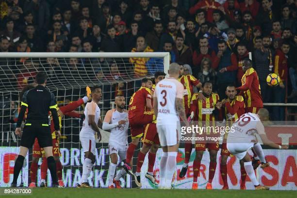 Sofiane Feghouli of Galatasaray during the Turkish Super lig match between Malatyaspor v Galatasaray at the Malatya Arena on December 17 2017 in...