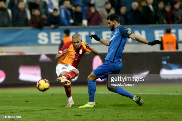 Sofiane Feghouli of Galatasaray in action against Syam Habib Ben Youssef of Kasimpasa during the Turkish Super Lig soccer match between Kasimpasa and...