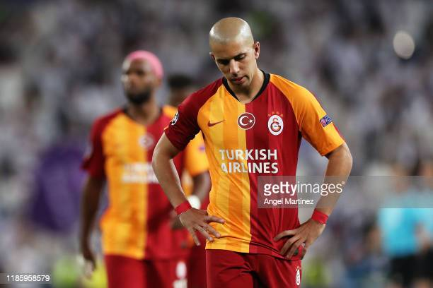 Sofiane Feghouli of Galatasaray reacts Atalanta the full time whistle after the UEFA Champions League group A match between Real Madrid and...