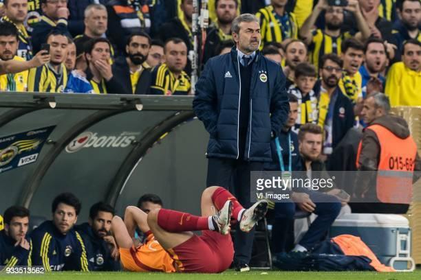 Sofiane Feghouli of Galatasaray SK coach Aykut Kocaman of Fenerbahce SK during the Turkish Spor Toto Super Lig match Fenerbahce AS and Galatasaray AS...