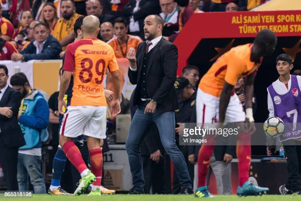 Sofiane Feghouli of Galatasaray SK coach Igor Tudor of Galatasaray SK Papa Alioune N'Diaye of Galatasaray SK during the Turkish Spor Toto Super Lig...