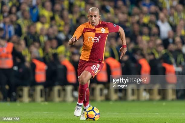 Sofiane Feghouli of Galatasaray SK during the Turkish Spor Toto Super Lig match Fenerbahce AS and Galatasaray AS at the Sukru Saracoglu Stadium on...