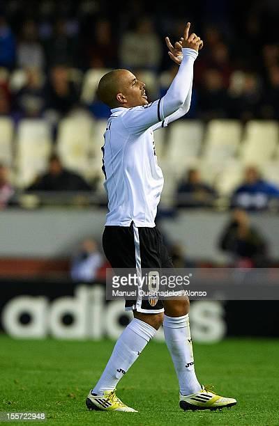 Sofiane Feghouli of Valencia celebrates scoring the fourth goal during the UEFA Champions League group F match between Valencia CF and FC BATE...