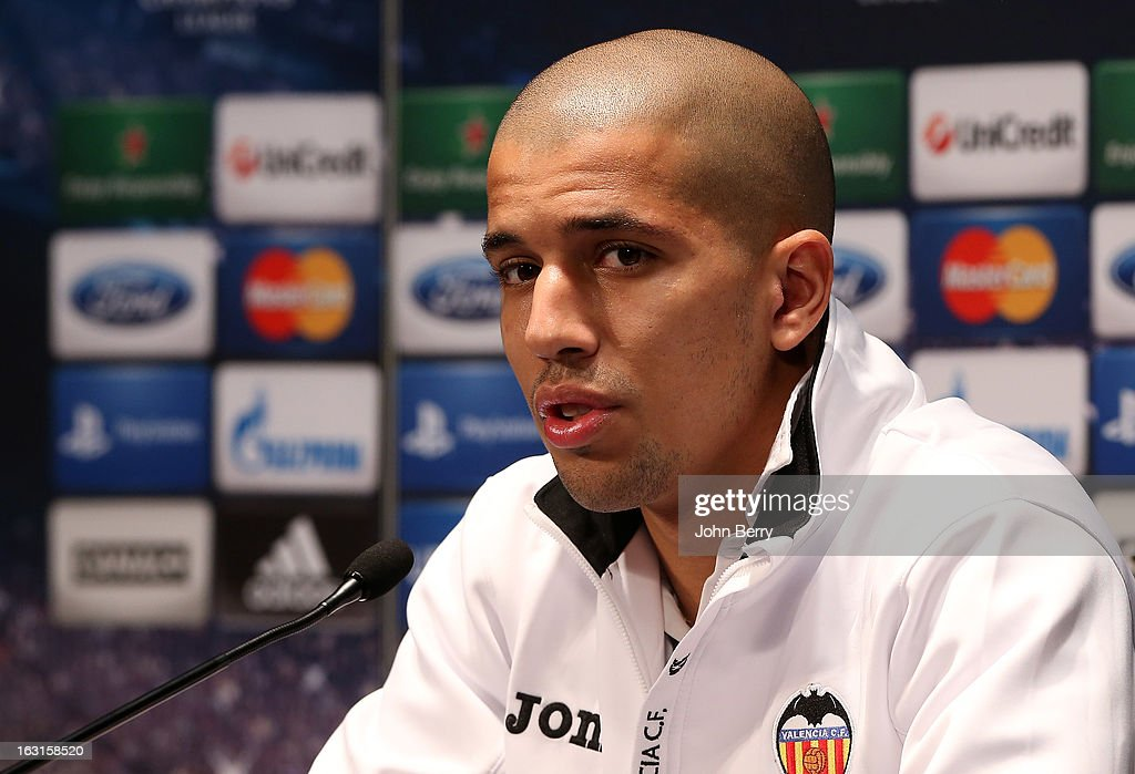 Sofiane Feghouli of Valencia CF attends a press conference on the eve of the Champions League match between Paris Saint Germain FC and Valencia CF at the Parc des Princes stadium on March 5, 2013 in Paris, France.