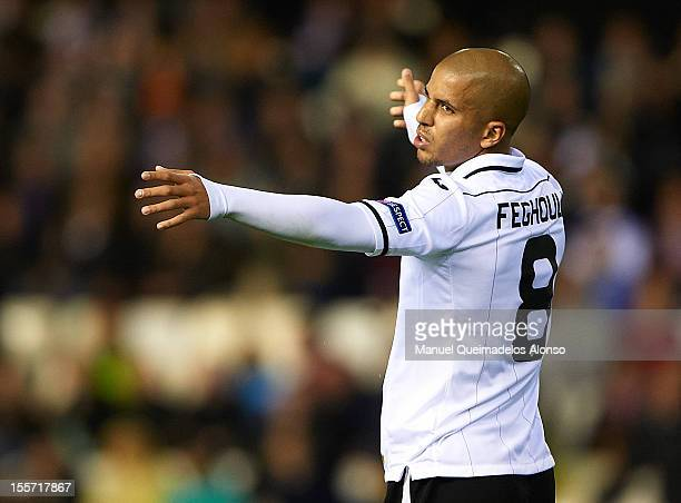 Sofiane Feghouli of Valencia reacts as he fails to score during the UEFA Champions League group F match between Valencia CF and FC BATE Borisov at...
