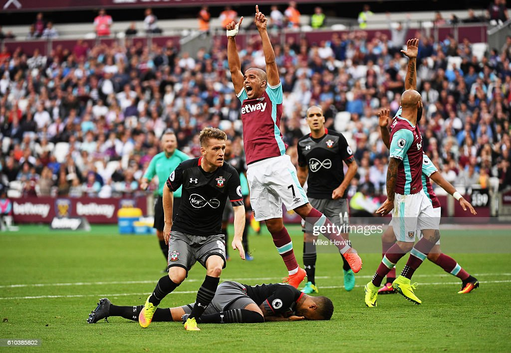 Sofiane Feghouli of West Ham United (7) appeals for a penalty during the Premier League match between West Ham United and Southampton at London Stadium on September 25, 2016 in London, England.