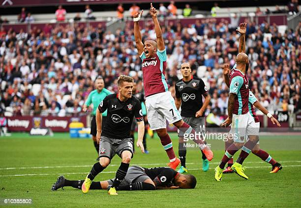 Sofiane Feghouli of West Ham United appeals for a penalty during the Premier League match between West Ham United and Southampton at London Stadium...