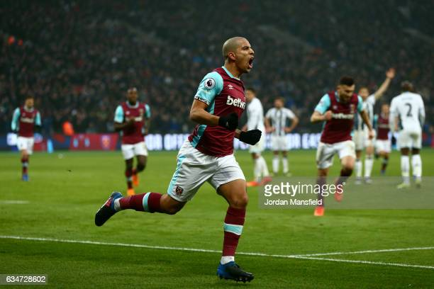 Sofiane Feghouli of West Ham United celebrates his side's first goal to make it 11 during the Premier League match between West Ham United and West...