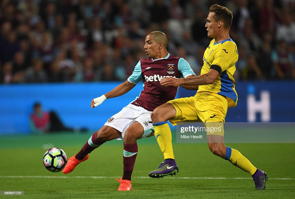 Sofiane Feghouli of West Ham United scores his sides third goal during the UEFA Europa League Qualification round match between West Ham United and NK Domzale at London Stadium on August 4, 2016 in Stratford, England.