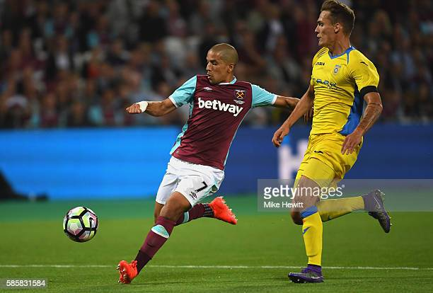 Sofiane Feghouli of West Ham United scores his sides third goal during the UEFA Europa League Qualification round match between West Ham United and...
