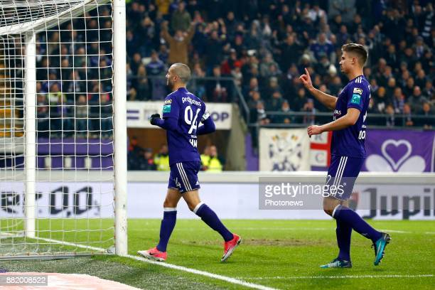 Sofiane Hanni midfielder of RSC Anderlecht and Leander Dendoncker midfielder of RSC Anderlecht pictured during the round of 1/8 Croky Cup between Rsc...
