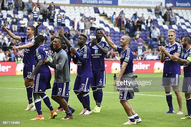 Sofiane Hanni midfielder of RSC Anderlecht and Youri Tielemans midfielder of RSC Anderlecht players of RSCA celebrates the win with the fans pictured...