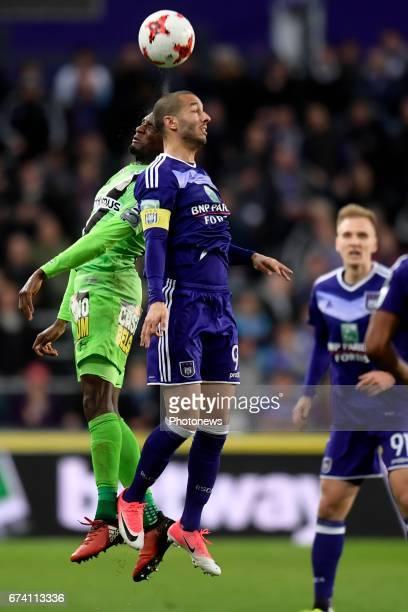 Sofiane Hanni midfielder of RSC Anderlecht battles for the ball with Clinton Pedro Lourenco Mukoni Mata defender of Sporting Charleroi during the...