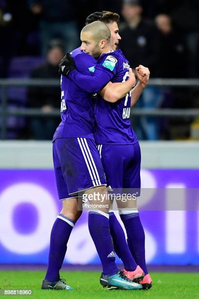 Sofiane Hanni midfielder of RSC Anderlecht celebrates scoring a goal with teammate Leander Dendoncker midfielder of RSC Anderlecht during the Jupiler...