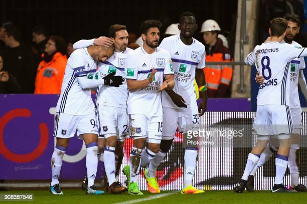 Sofiane Hanni midfielder of RSC Anderlecht celebrates scoring a goal with teammates Leander Dendoncker midfielder of RSC Anderlecht during the...