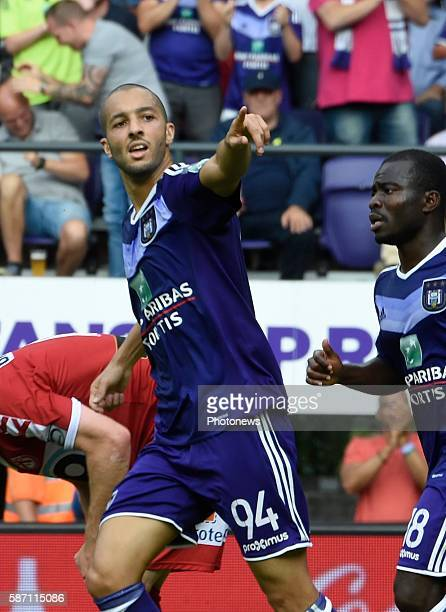 Sofiane Hanni midfielder of RSC Anderlecht celebrates with teammates after scoring pictured during Jupiler Pro League second day competition match...