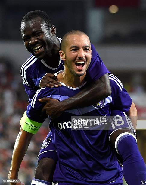 Sofiane Hanni midfielder of RSC Anderlecht celebrates with teammates after scoring pictured during europa league match play off between RSC...