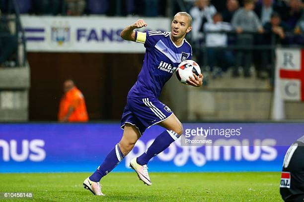 Sofiane Hanni midfielder of RSC Anderlecht scores and celebrates pictured during Jupiler Pro League match between RSC Anderlecht and KVC Westerlo on...