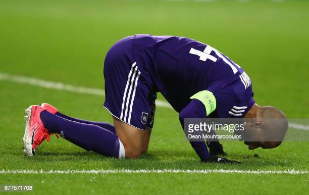Sofiane Hanni of RSC Anderlecht celebrates scoring his team's opening goal during the UEFA Champions League group B match between RSC Anderlecht and...
