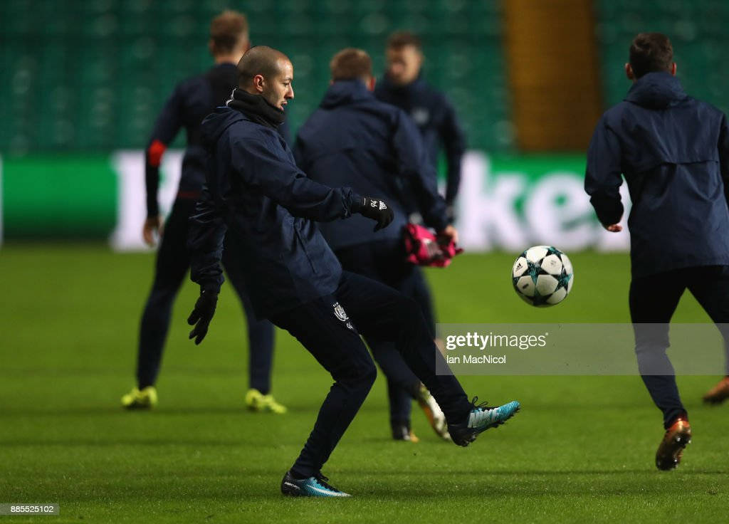 Sofiane Hanni of RSC Anderlecht controls the ball during an Anderlecht training session on the eve of their UEFA Champions League match against Celtic at Celtic Park on December 4, 2017 in Glasgow, Scotland.