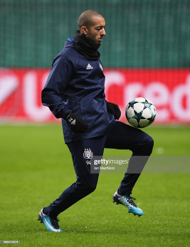 Sofiane Hanni of RSC Anderlecht juggles the ball during an Anderlecht training session on the eve of their UEFA Champions League match against Celtic at Celtic Park on December 4, 2017 in Glasgow, Scotland.