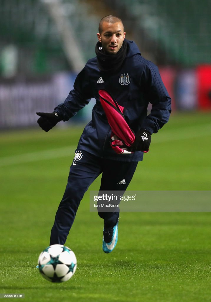 Sofiane Hanni of RSC Anderlecht runs with the ball during an Anderlecht training session on the eve of their UEFA Champions League match against Celtic at Celtic Park on December 4, 2017 in Glasgow, Scotland.