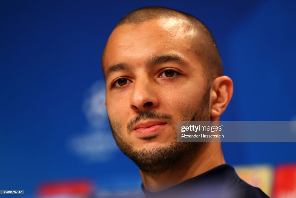 Sofiane Hanni of RSC Anderlecht speaks during an RSC Anderlecht press conference ahead of the UEFA Champions League Group B match against Bayern Muenchen at Fussball Arena Muenchen on September 11, 2017 in Munich, Germany.