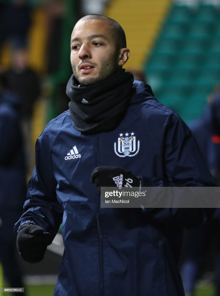 Sofiane Hanni of RSC Anderlecht warms up during an Anderlecht training session on the eve of their UEFA Champions League match against Celtic at Celtic Park on December 4, 2017 in Glasgow, Scotland.