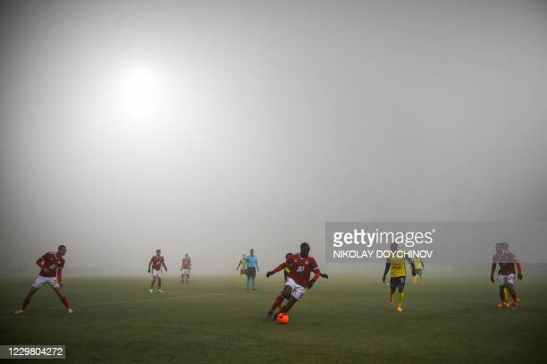 Sofia's French midfielder Amos Youga controls the ball during the UEFA during the UEFA Europe League group stage football match between CSKA Sofia...
