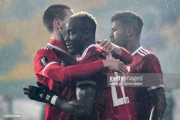 Sofia's Gambian forward Ali Sowe celebrates after scoring a goal during the UEFA Europa League Group A football match between CSKA Sofia and AS Roma...