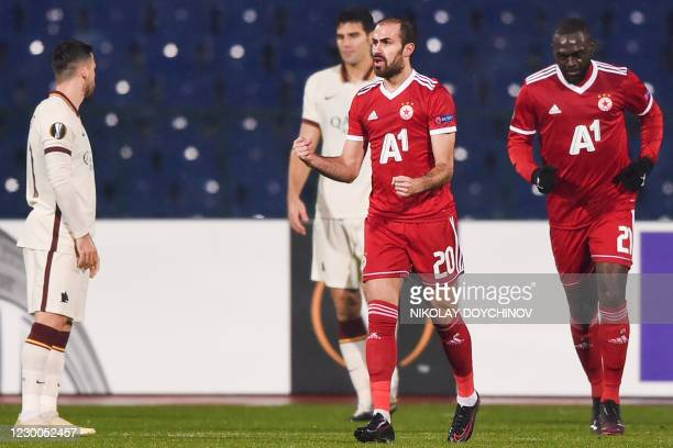 Sofia's Portoguesse midfielder Tiago Rodrigues celebrates after scoring a goal during the UEFA Europa League Group A football match between CSKA...