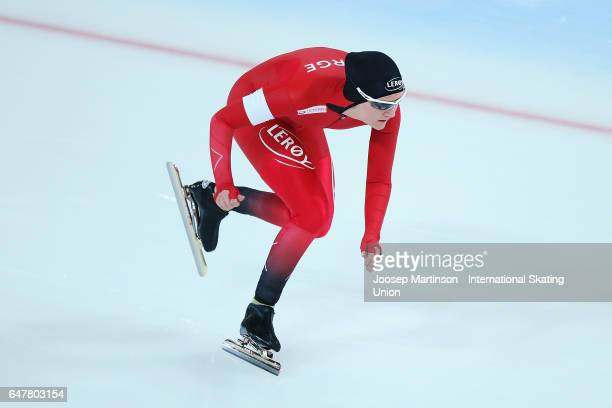 Sofie Karoline Haugen of Norway competes in the Ladies 500m during World Allround Speed Skating Championships at Viking Skipet Hamar Olympic Hall on...