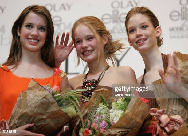 Sofie Oosterwaal from Holland Dana Marcolina from US and Maj Bjerre from Denmark pose for pictures at the end of the OLAY Elite Model Look 2004...