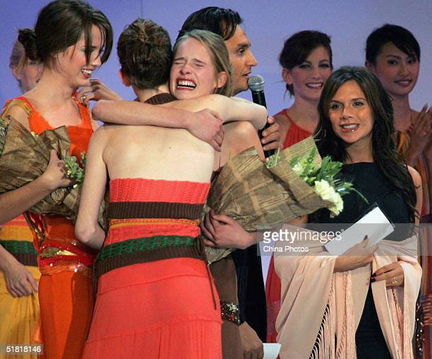 Sofie Oosterwaalal of the Netherlands is congratulated after she won the OLAY Elite Model Look 2004 International Finals on December 2 2004 in...