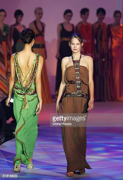 Sofie Oosterwaalal of the Netherlands performs during the OLAY Elite Model Look 2004 International Finals on December 2 2004 in Shanghai China...