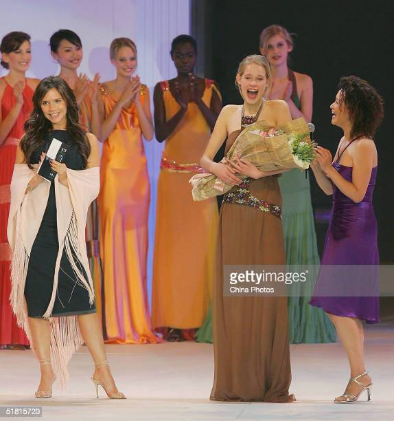Sofie Oosterwaalal of the Netherlands smiles after winning the OLAY Elite Model Look 2004 International Finals on December 2 2004 in Shanghai China...