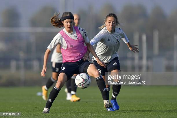 Sofie Pedersen and Martina Rosucci during a Juventus Women Training Session at Juventus Center Vinovo on November 02, 2020 in Vinovo, Italy.