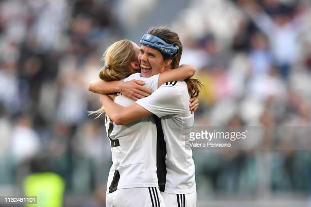 Sofie Pedersen of Juventus FC Women celebrates after scored the opening goal with team mate Tuija Hyyrynen during the Women Serie A match between...