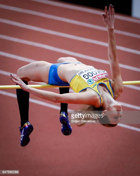Sofie Skoog of Sweden competes in the Women's High Jump qualification on day one of the 2017 European Athletics Indoor Championships at the Kombank...