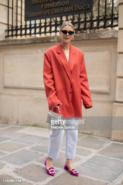 Sofie Valkiers is seen on the street attending Roger Vivier during Paris Fashion Week AW19 wearing Roger Vivier on February 28 2019 in Paris France