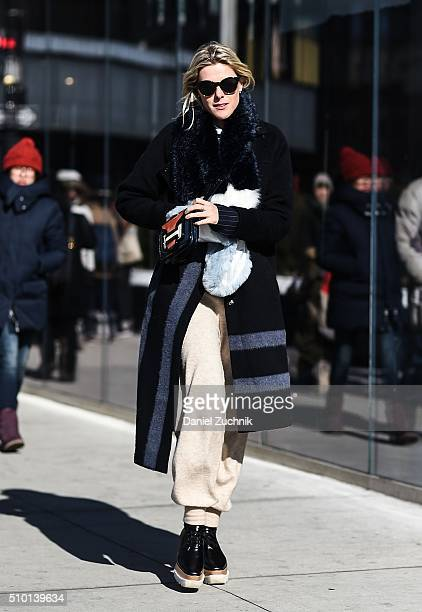 Sofie Valkiers is seen outside the Tibi show wearing a Tibi fur coat during New York Fashion Week Women's Fall/Winter 2016 on February 13 2016 in New...