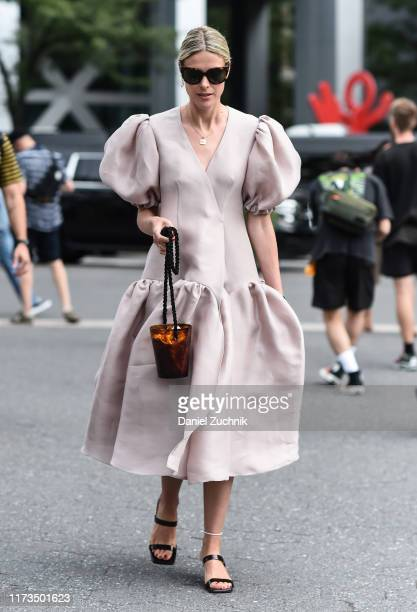 Sofie Valkiers is seen wearing a Carolina Herrera dress outside the Carolina Herrera show during New York Fashion Week S/S20 on September 09, 2019 in...