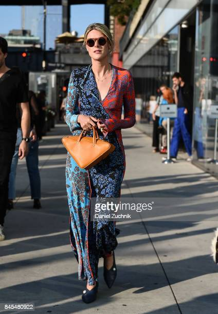 Sofie Valkiers is seen wearing a DVF dress outside the DVF show during New York Fashion Week: Women's S/S 2018 on September 10, 2017 in New York City.