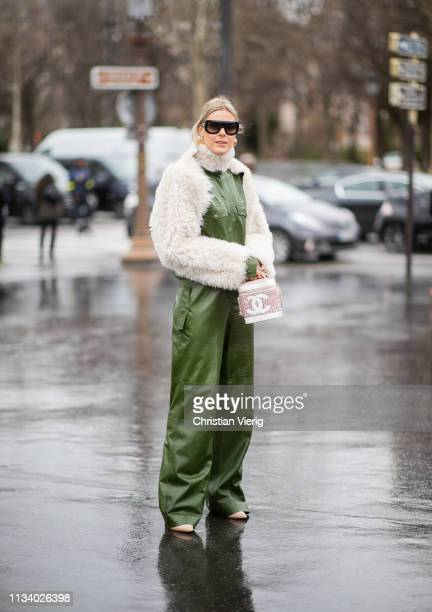 Sofie Valkiers is seen wearing green overall outside Chanel during Paris Fashion Week Womenswear Fall/Winter 2019/2020 on March 05, 2019 in Paris,...