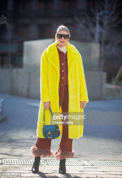 Sofie Valkiers is seen wearing pants yellow coat Chloe bag outside Rebecca Minkoff during New York Fashion Week Autumn Winter 2019 on February 10...