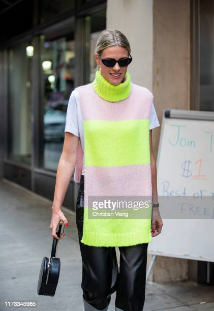 Sofie Valkiers is seen wearing sleeveless knit outside Tibi during New York Fashion Week September 2019 on September 08 2019 in New York City