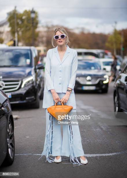 Sofie Valkiers wearing blue pants and blazer Balenciaga bag is seen outside Elie Saab during Paris Fashion Week Spring/Summer 2018 on September 30...