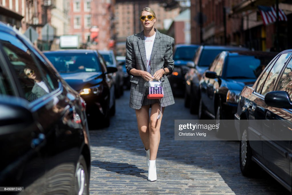 Sofie Valkiers wearing checked grey blazer seen in the streets of Manhattan outside Tibi during New York Fashion Week on September 9, 2017 in New York City.